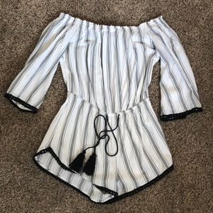 forever 21 striped romper off the shoulder